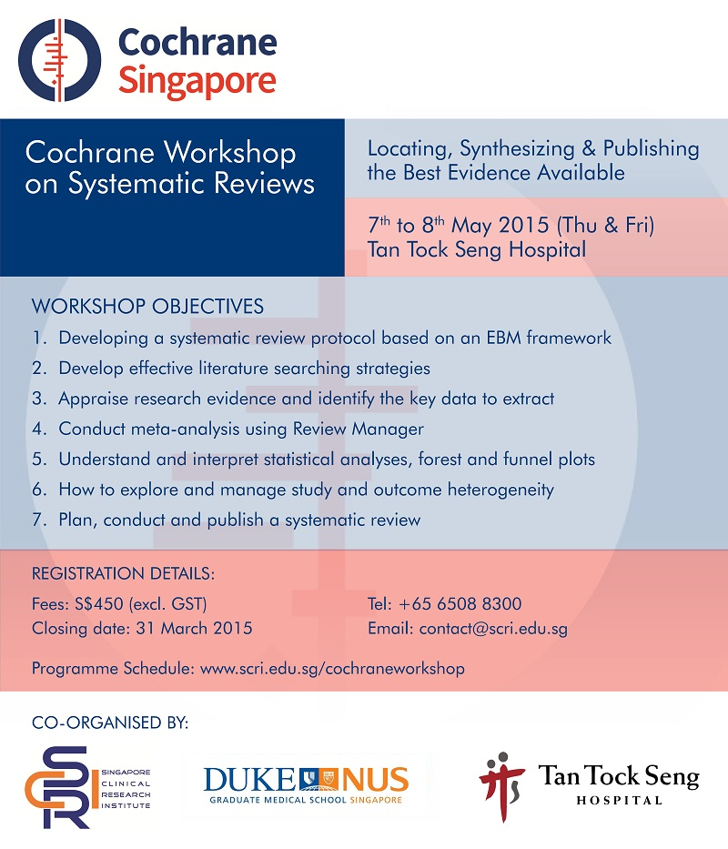 Cochrane Workshop on Systematic Reviews (07-08 May 2015)