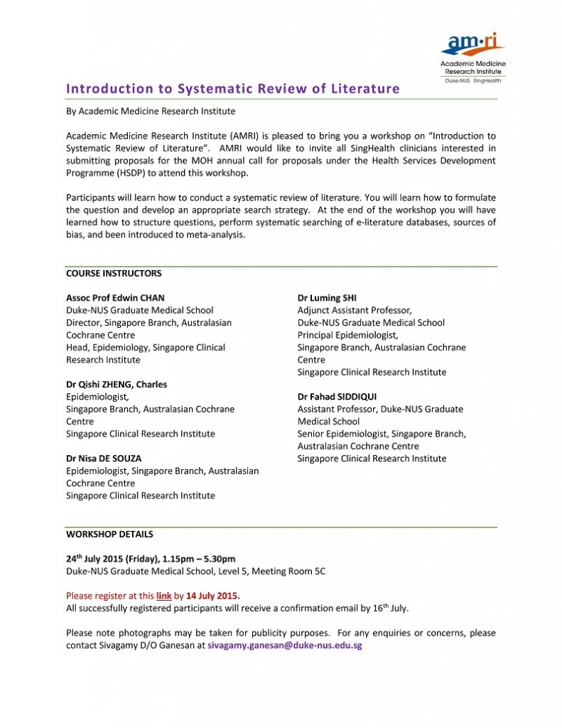 Introduction to systematic review Workshop (24 July 2015)