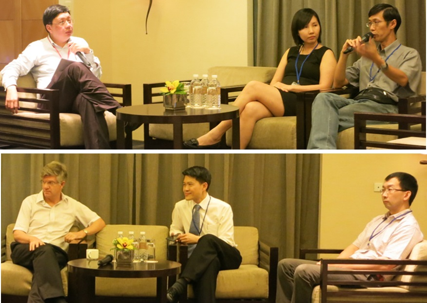 Clockwise from top left: A/Prof Teoh Yee Leong with Dr Soh Shu E and A/Prof Marcus Ong; Prof Nicholas Paton with A/Prof Lim Tock Tan and Dr David Lye.